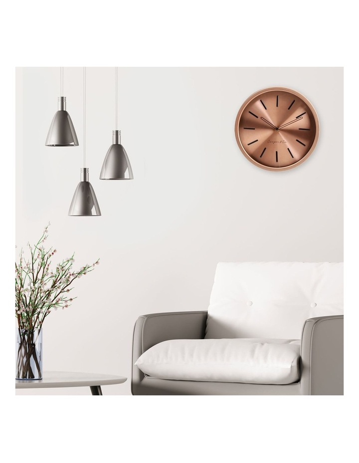 30cm Metallic Copper Silent Movement Round Wall Clock image 2