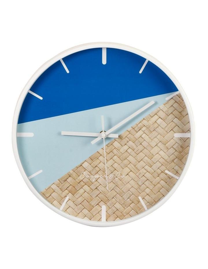 30cm Blue/Rattan Cayman Silent Movement Round Wall Clock image 1