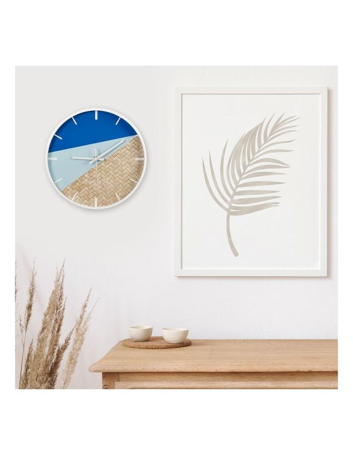 30cm Blue/Rattan Cayman Silent Movement Round Wall Clock image 2