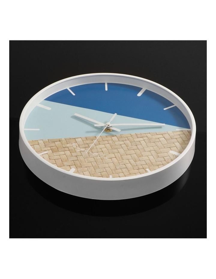 30cm Blue/Rattan Cayman Silent Movement Round Wall Clock image 3