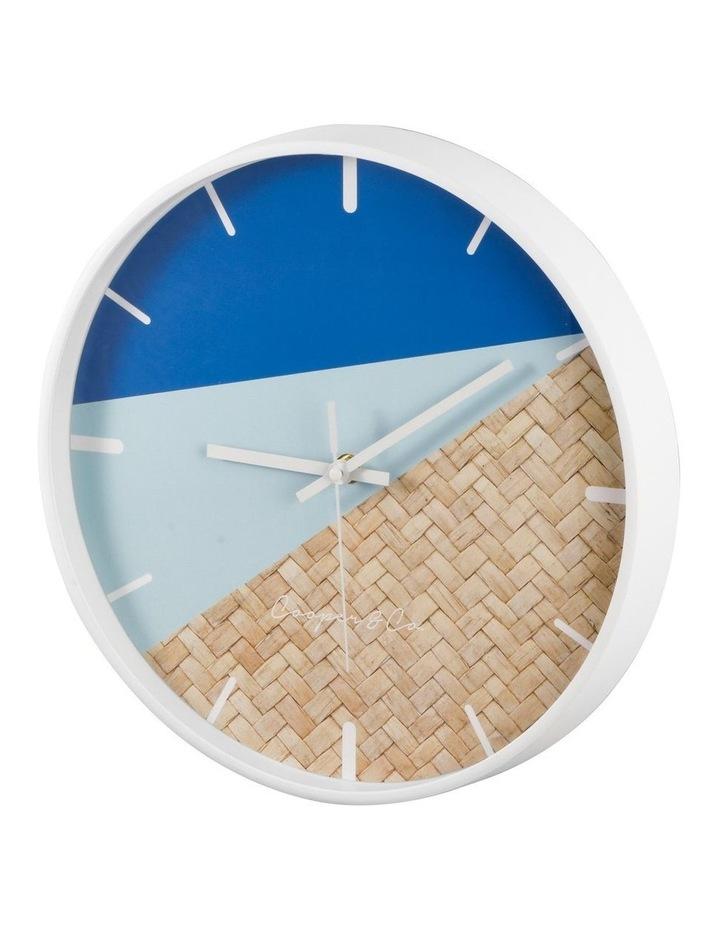 30cm Blue/Rattan Cayman Silent Movement Round Wall Clock image 4
