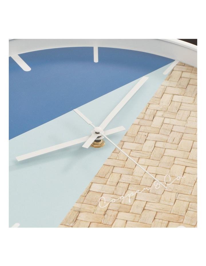 30cm Blue/Rattan Cayman Silent Movement Round Wall Clock image 5