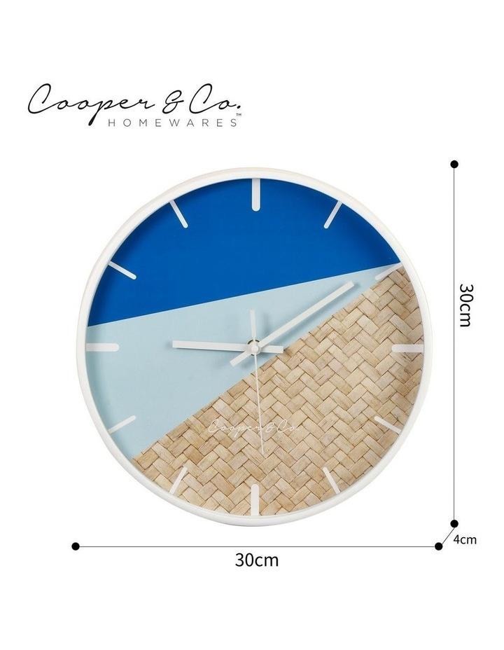 30cm Blue/Rattan Cayman Silent Movement Round Wall Clock image 7
