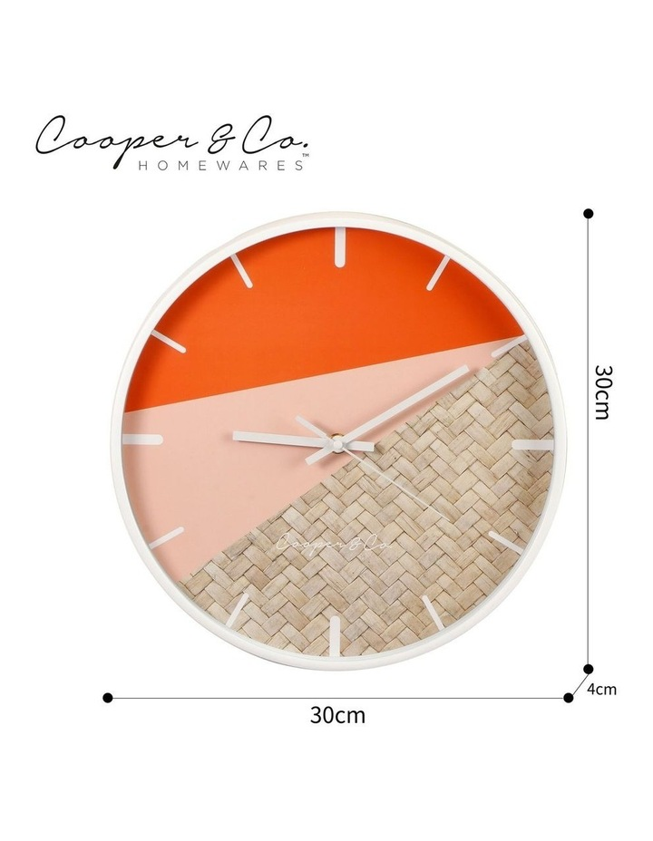 30cm Watermelon/Rattan Cayman Silent Movement Round Wall Clock image 7