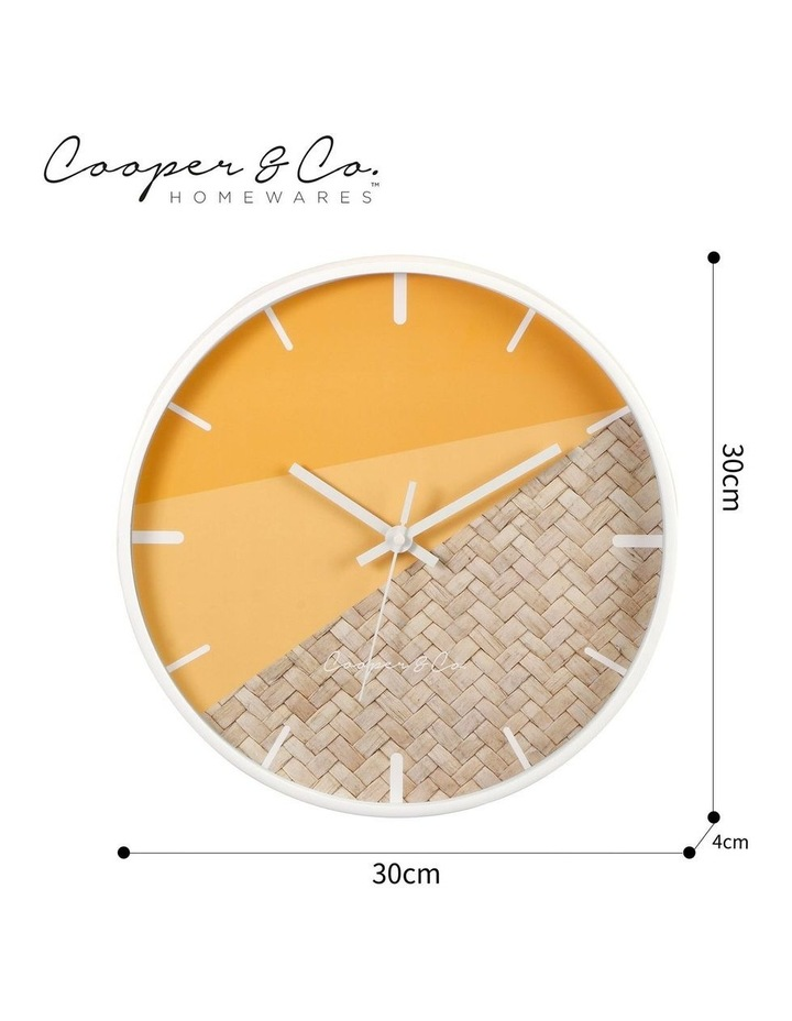 30cm O/Rattan Cayman Silent Movement Round Wall Clock image 6