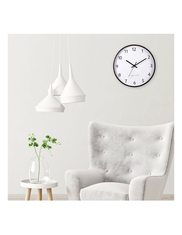 30cm Black Anderson Silent Movement Round Wall Clock image 2