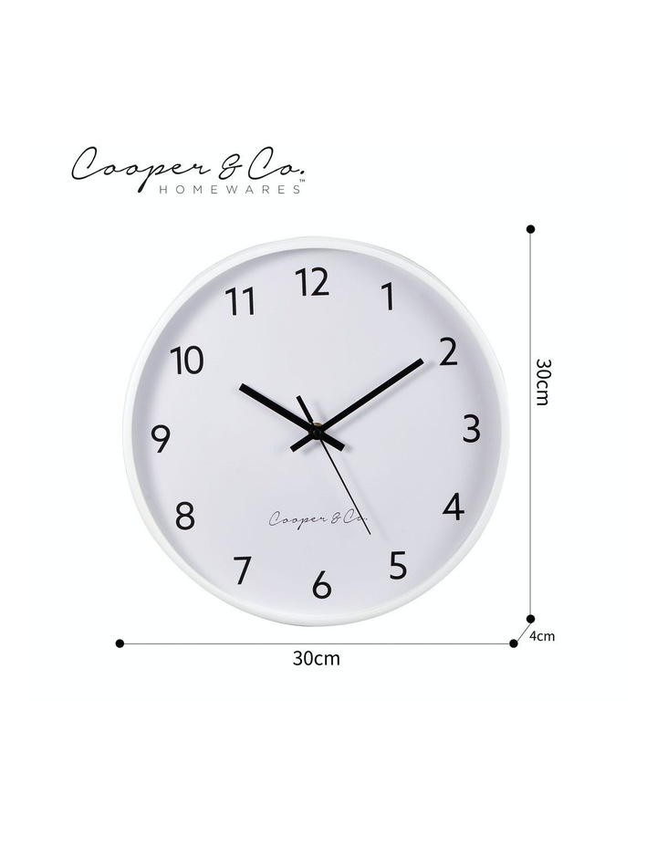 30cm White Anderson Silent Movement Round Wall Clock image 7
