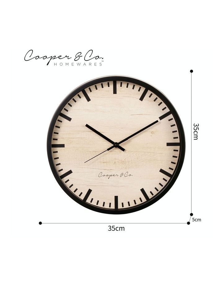35cm Black Solomon Silent Movement Round Wall Clock image 7