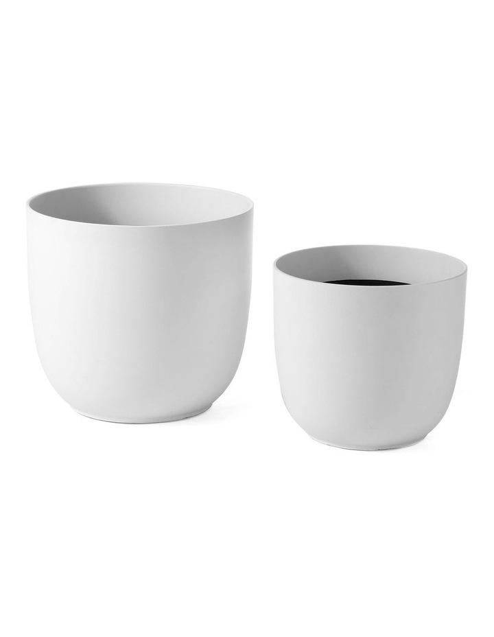 Set of 2 35cm & 28cm Massima White Round Planter Pots image 1