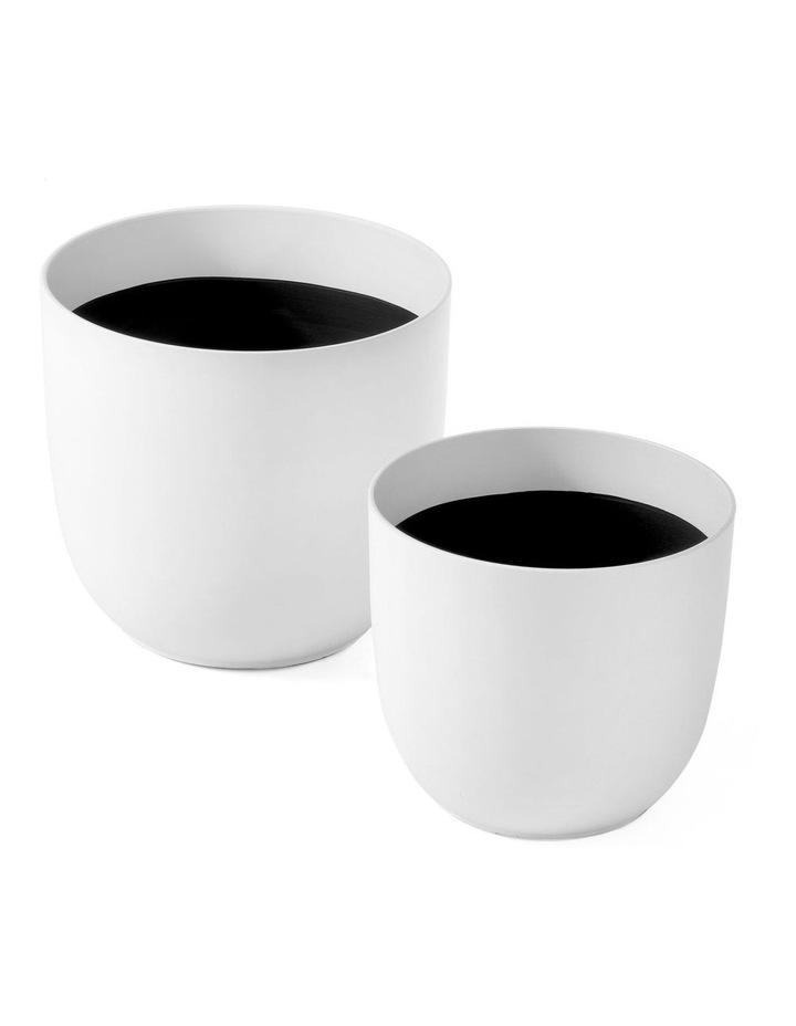 Set of 2 35cm & 28cm Massima White Round Planter Pots image 3