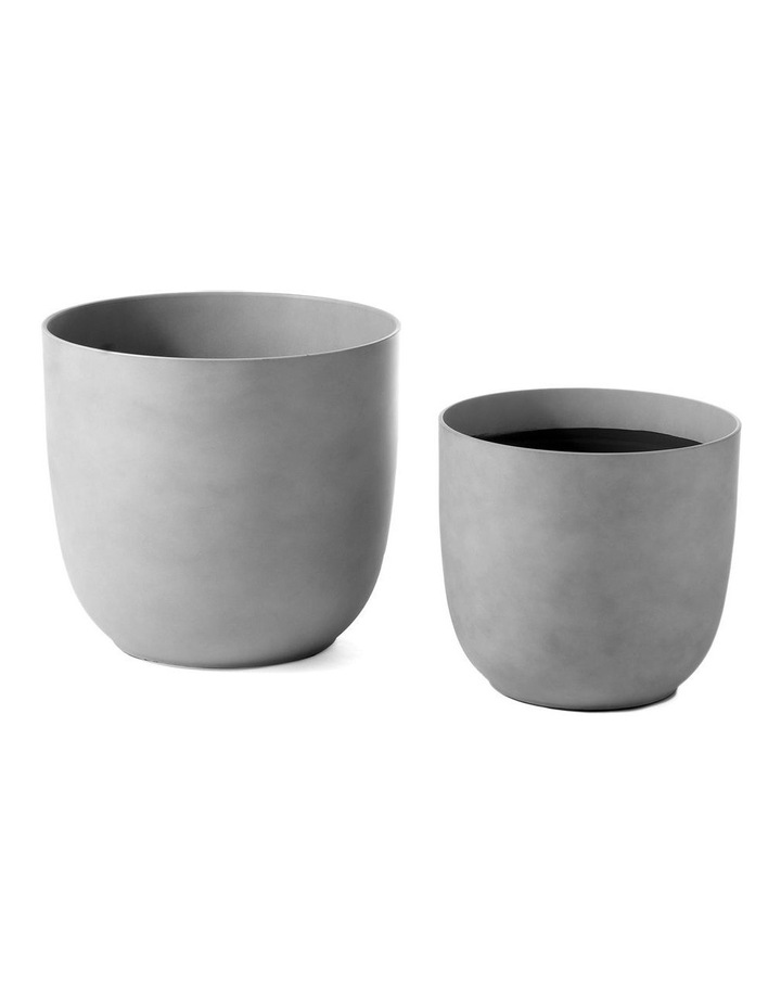 Set of 2 35cm & 28cm Massima Slab Grey Round Planter Pots image 1