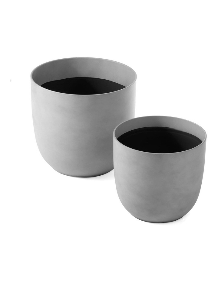 Set of 2 35cm & 28cm Massima Slab Grey Round Planter Pots image 3