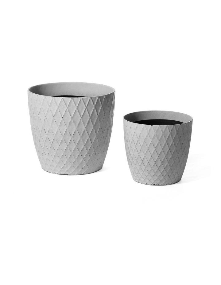 Set of 2 35cm & 27cm Helgrim White Round Planter Pots image 1