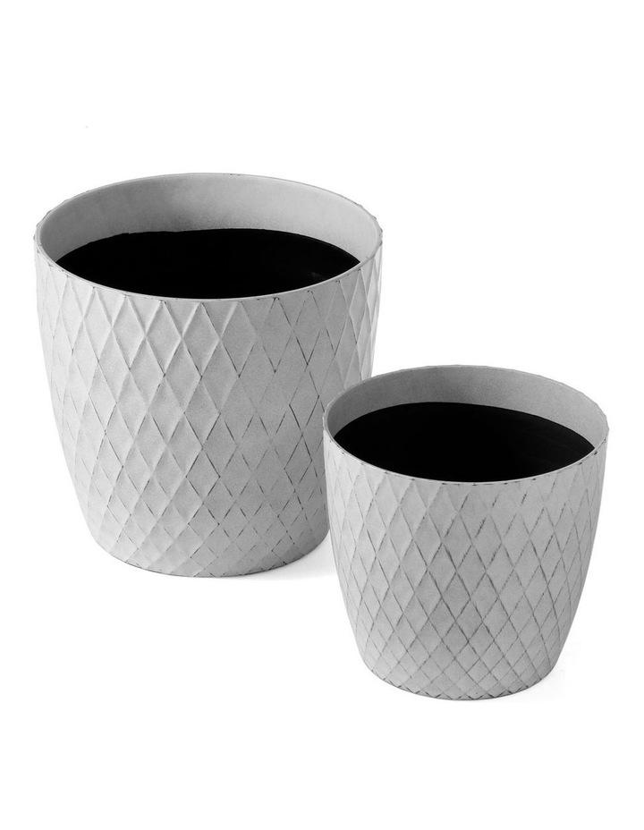 Set of 2 35cm & 27cm Helgrim White Round Planter Pots image 3