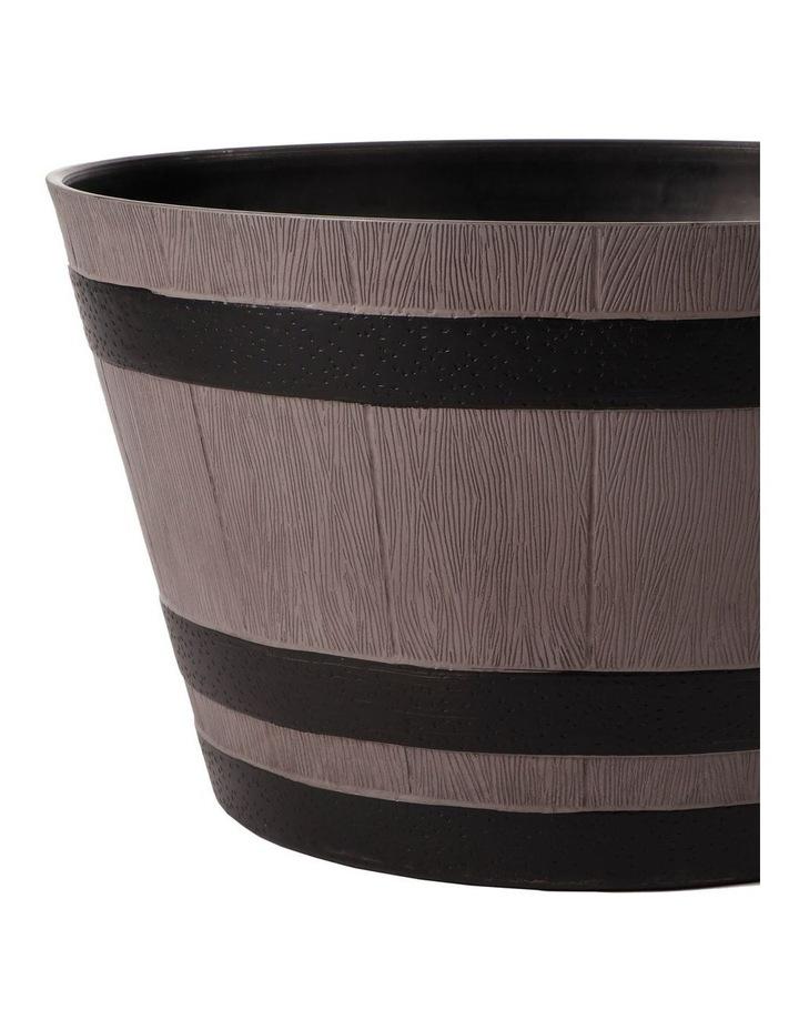 Set of 2 52cm & 38cm Half Barrel Grey Round Planter Pots image 3