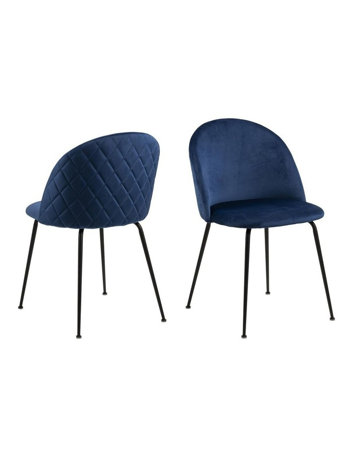 Living Set of 2 Luna Dining Chair Dark Blue image 1