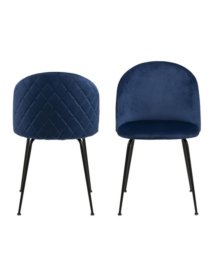 Living Set of 2 Luna Dining Chair Dark Blue image 2