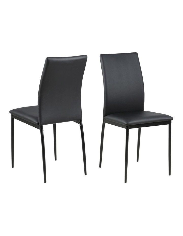 Living Set of 4  Emily Dining Chair Black Faux Leather image 1