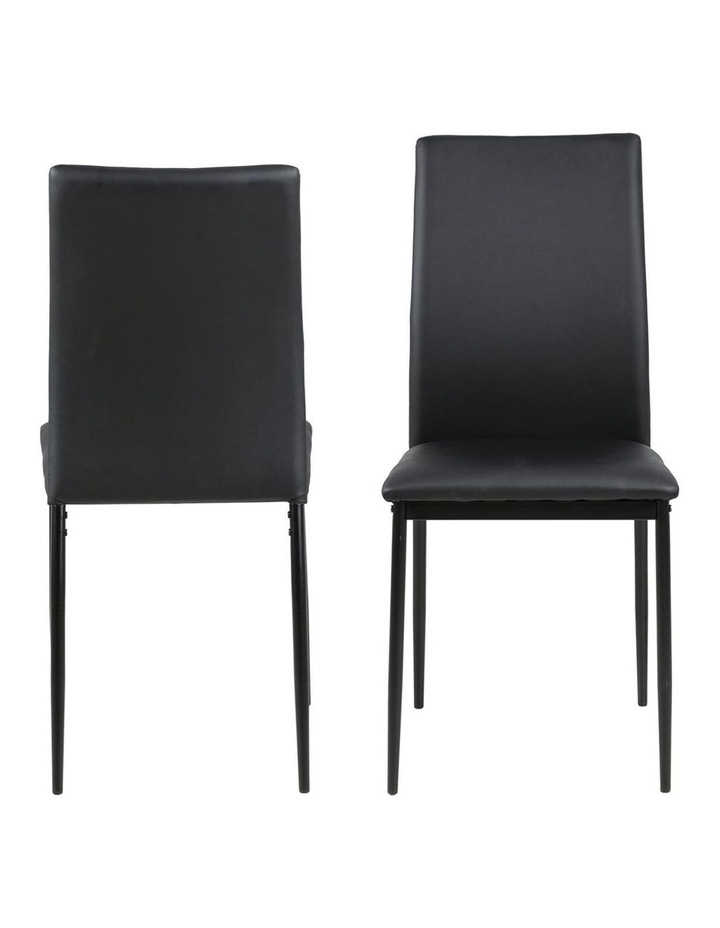Living Set of 4  Emily Dining Chair Black Faux Leather image 2
