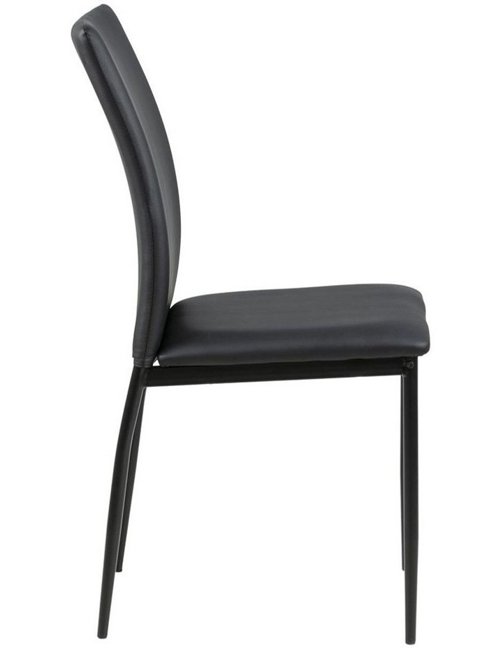 Living Set of 4  Emily Dining Chair Black Faux Leather image 3