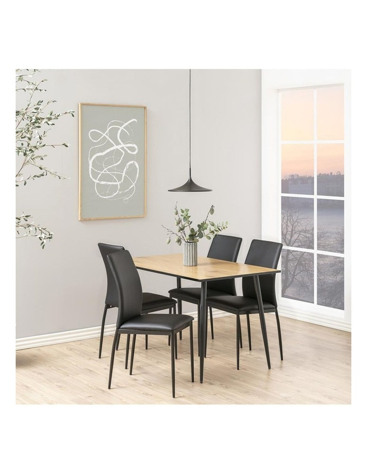 Living Set of 4  Emily Dining Chair Black Faux Leather image 6