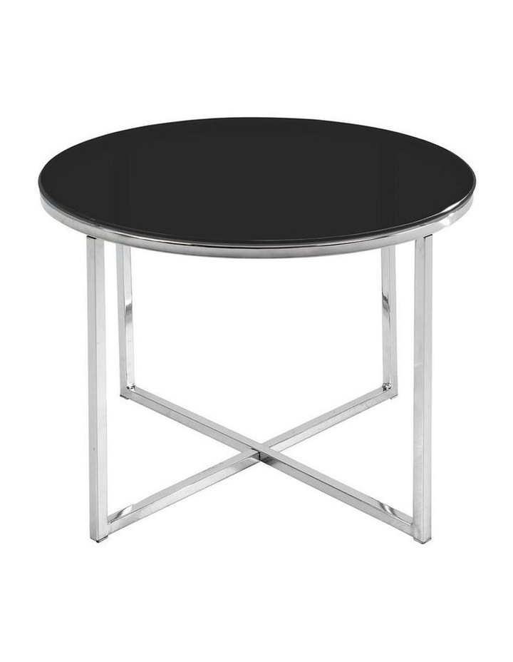 Black Kallista Round Glass-Top Coffee Table image 1