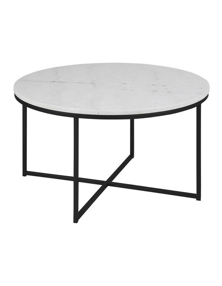 Living Alisma Round 80cm White Marble Coffee Table Black Frame image 1