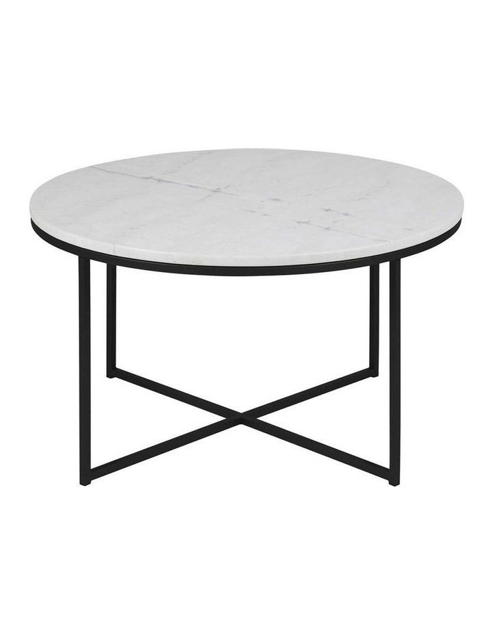 Cooper Co Living Alisma Round 80cm White Marble Coffee Table Black Frame Myer