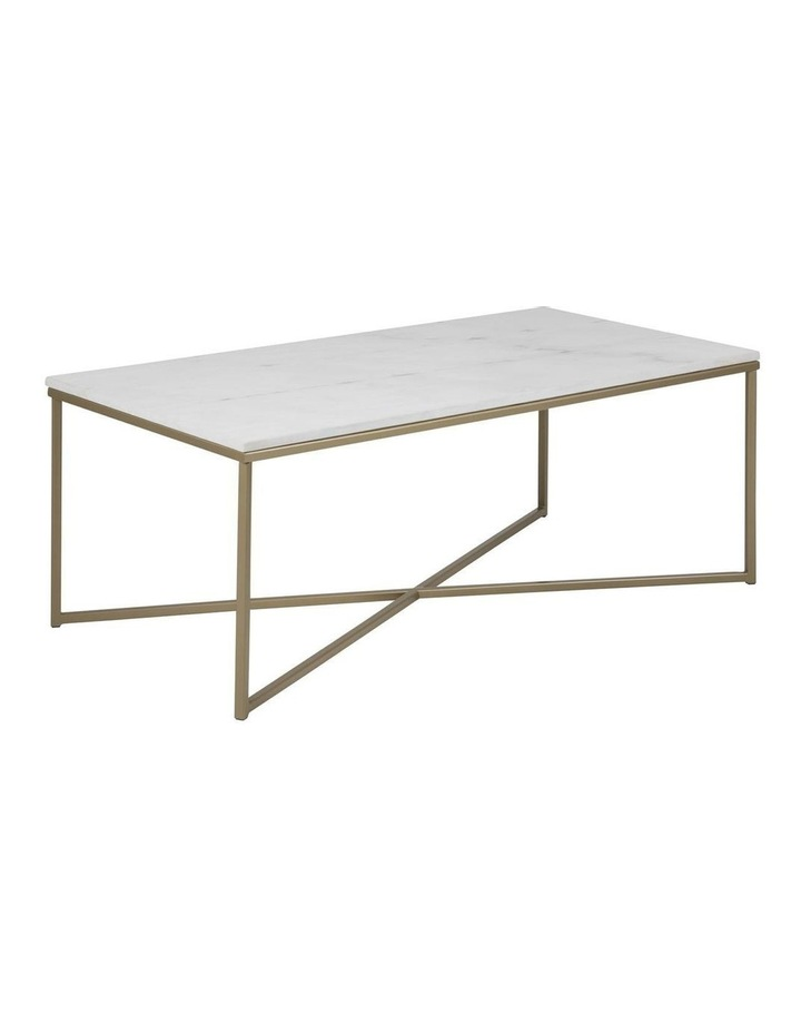 Living Alisma Rectangular 120cm White Marble Coffee Table Brass Frame image 1
