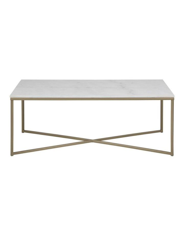 Living Alisma Rectangular 120cm White Marble Coffee Table Brass Frame image 2