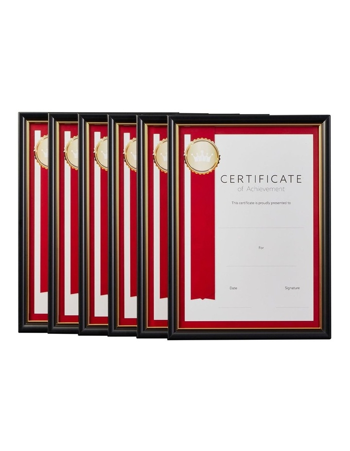 6pk A4 Classic Certificate Frame Black/Gold image 1