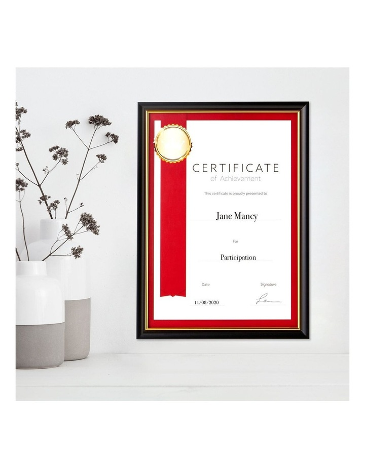 6pk A4 Classic Certificate Frame Black/Gold image 2