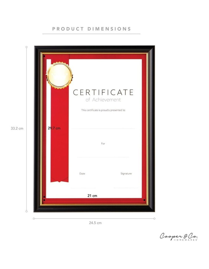 6pk A4 Classic Certificate Frame Black/Gold image 6