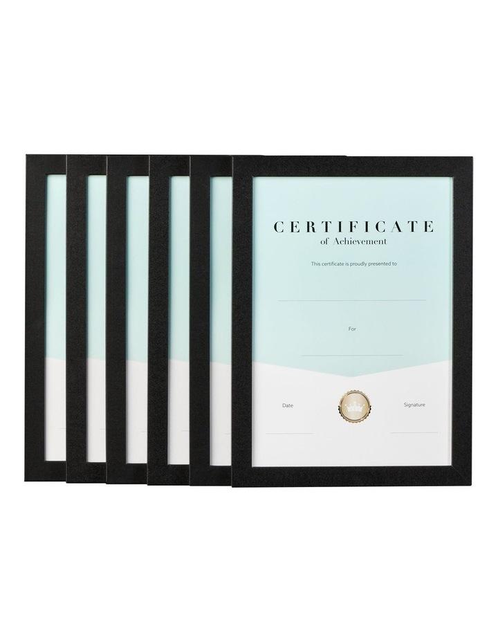 6pk A4 Urban Certificate Frame Black image 1