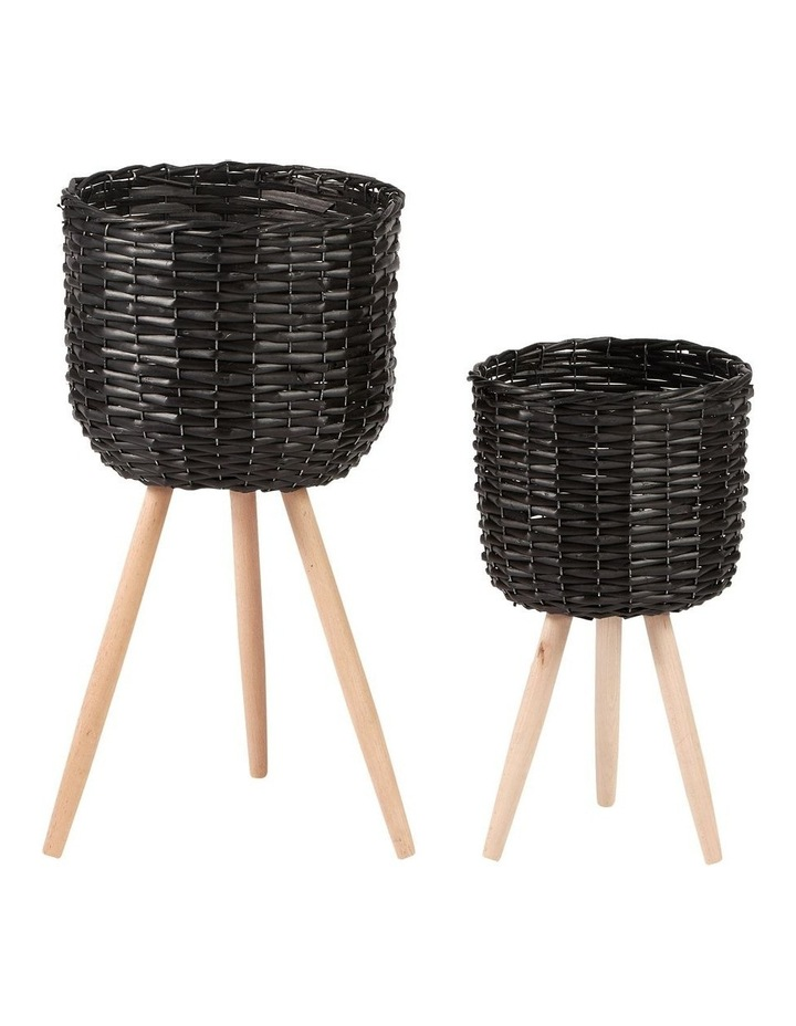 Willow Pot Planter Black Set of 2 image 1