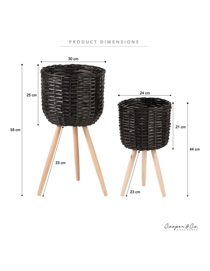Willow Pot Planter Black Set of 2 image 5