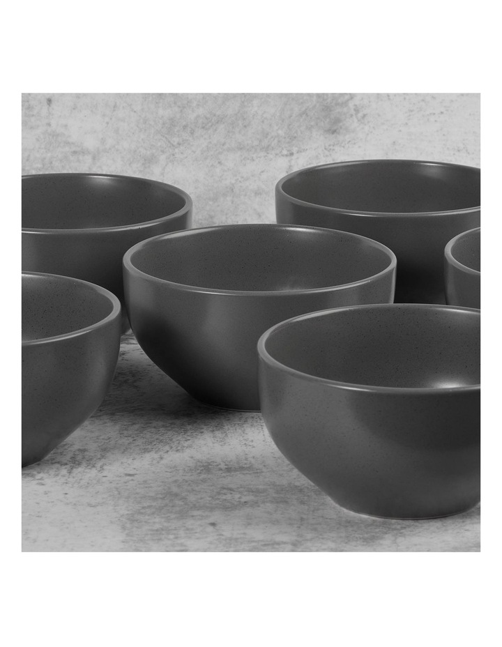 Set of 6 13cm Stoneware Bowls In Charcoal image 3