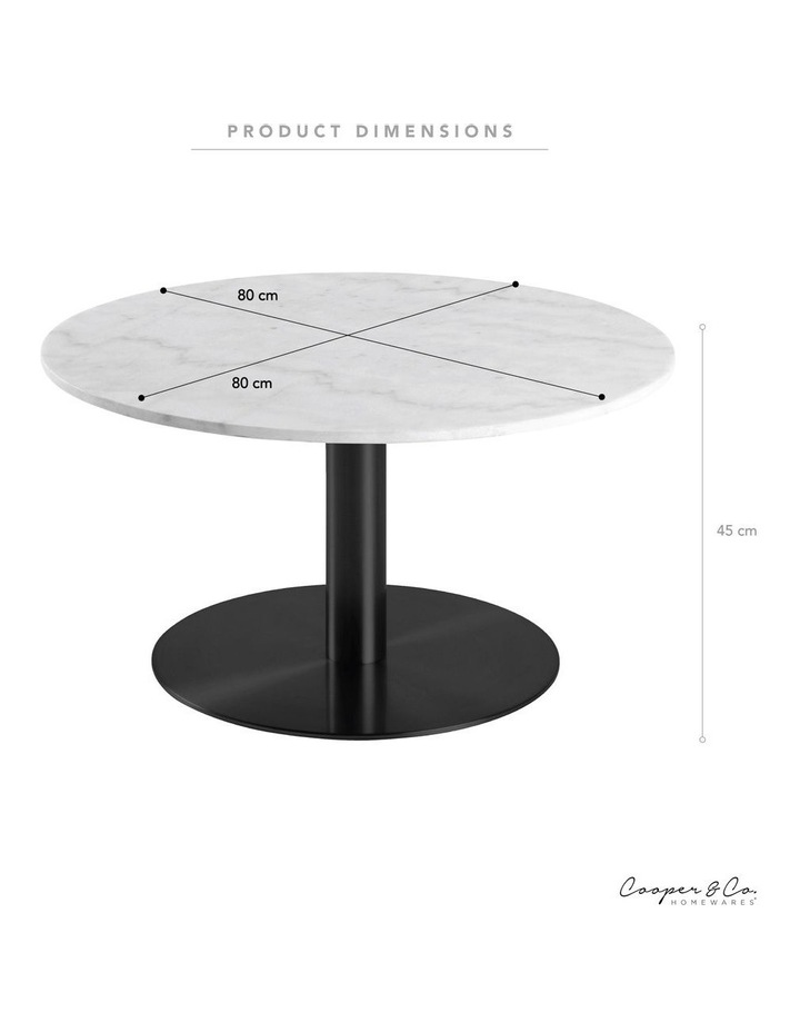 Living 80cm Marble Marais Black Coffee Table image 3