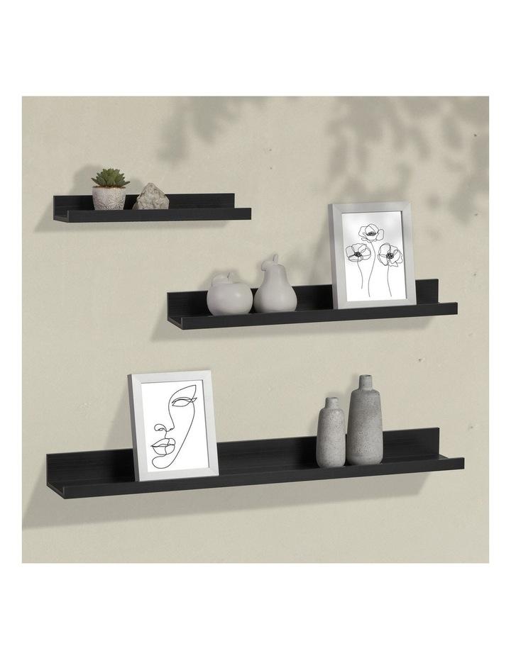Set Of 3 Display Wall Shelves Black image 2