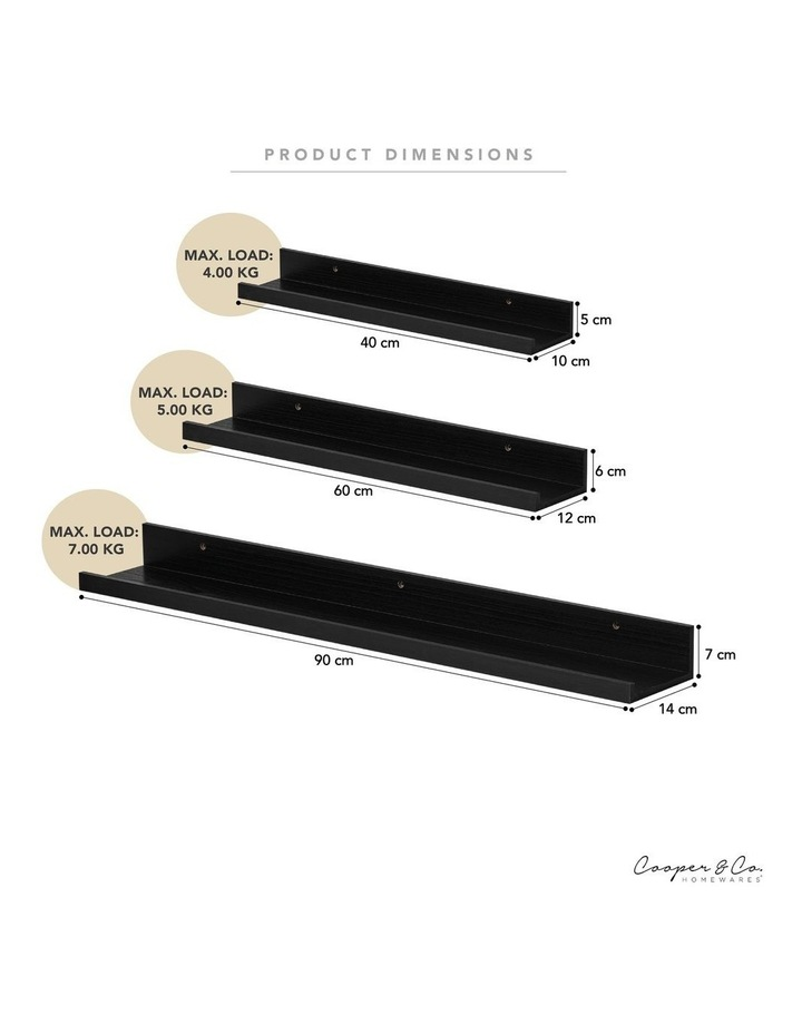 Set Of 3 Display Wall Shelves Black image 4