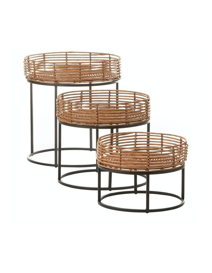 Cooper & Co. Set of 3 Reyes Round Rattan Nesting Side Tables image 1