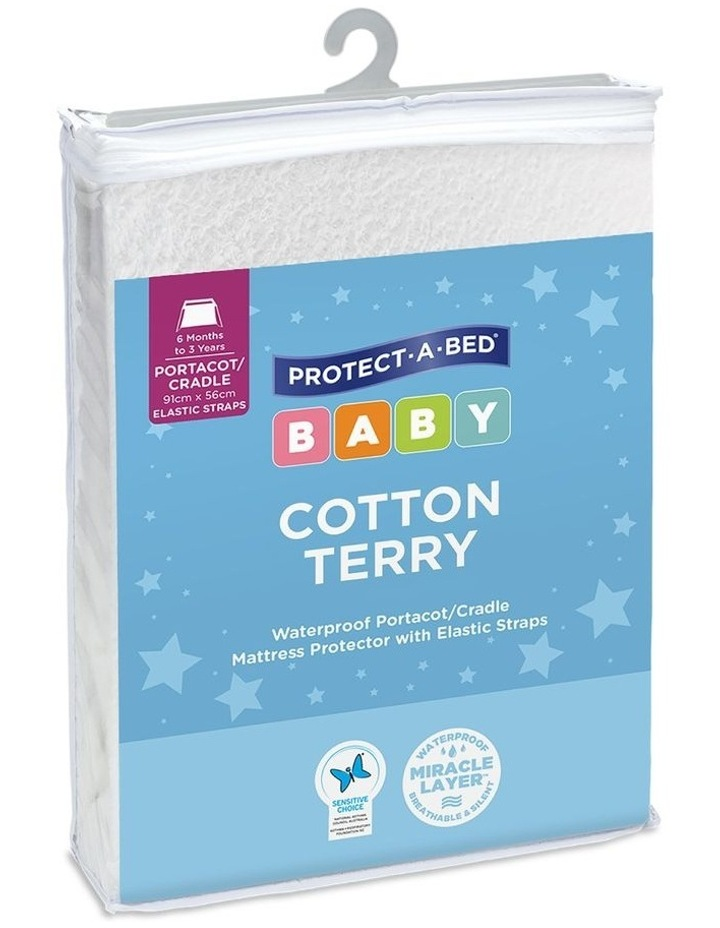 Cotton Terry Waterproof Cradle/Portacot Mattress Protector with Elastic Straps image 1