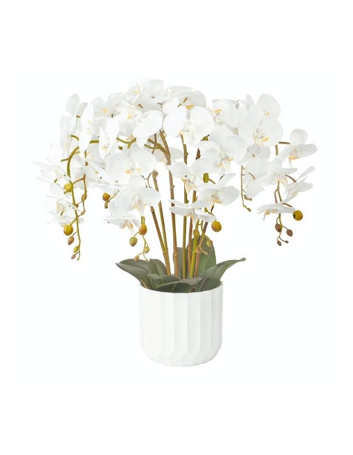 Large White Orchid Potted Faux Plant  55cm image 1