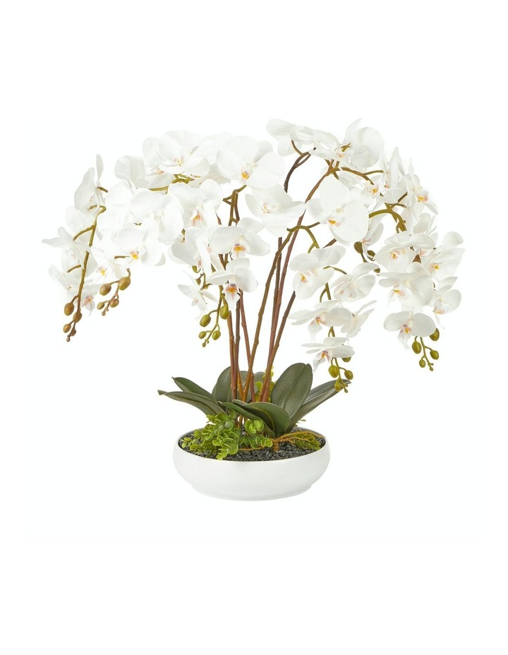 Large White Orchid Potted Faux Plant  60cm image 1