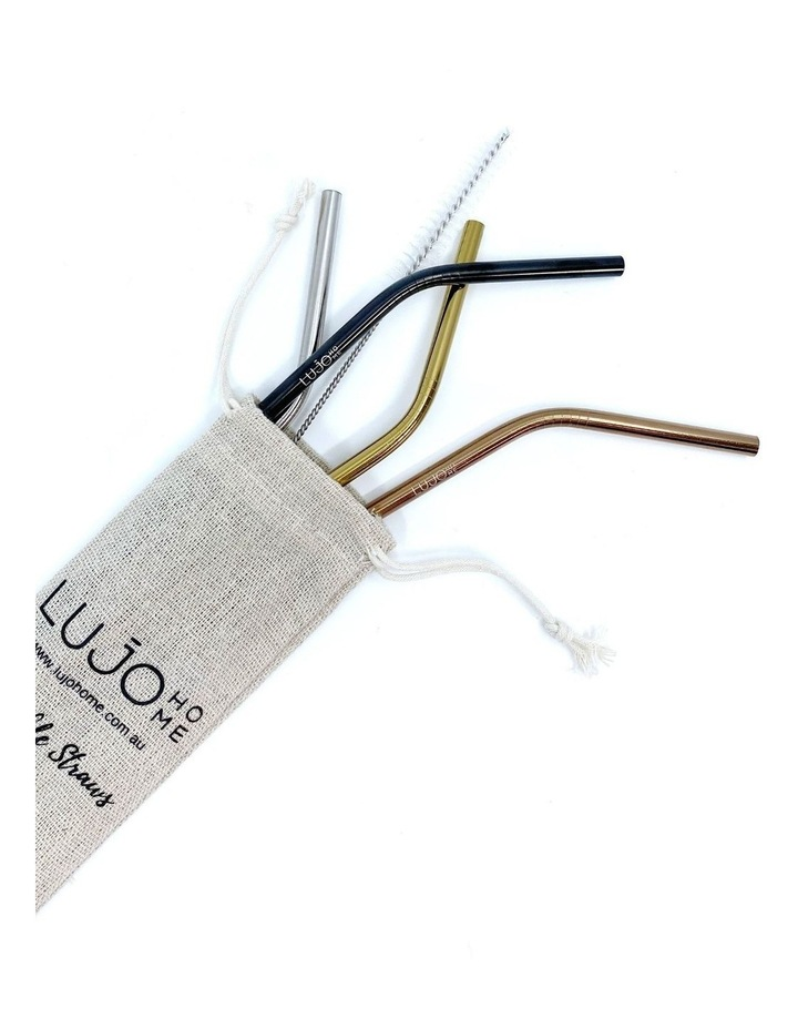4 Pack Bent Stainless Steel Straws (6mm) image 1