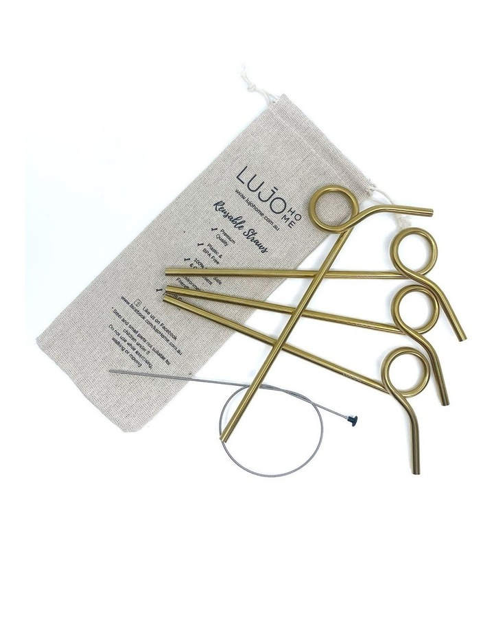 Stainless Steel Curly Straws 4 Pack image 1