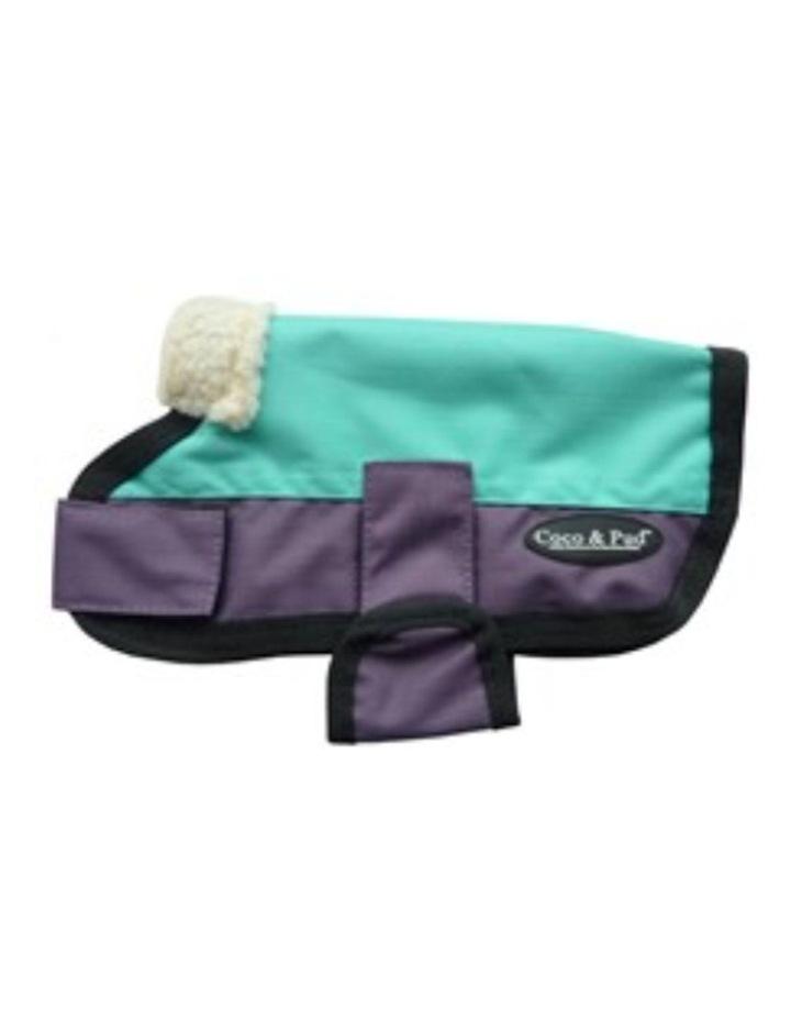 Waterproof Dog Coat 3009 LARGE - Teal & Purple image 2