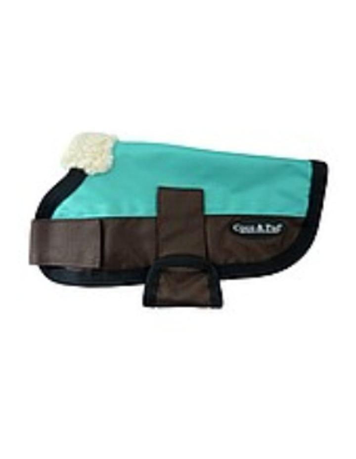 Waterproof Dog Coat 3009 - Teal & Chocolate XXS image 2