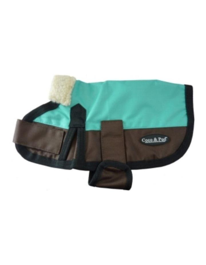 Waterproof Dog Coat 3009 MEDIUM - Teal & Chocolate image 1
