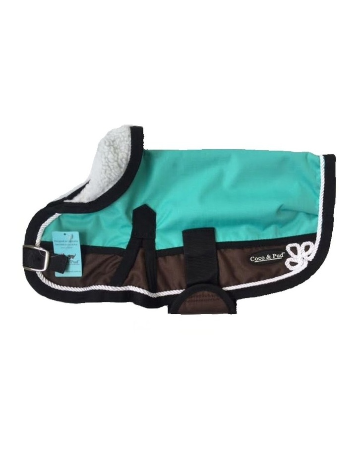 Waterproof Dog Coat 3022- Teal & Chocolate With Piping image 1